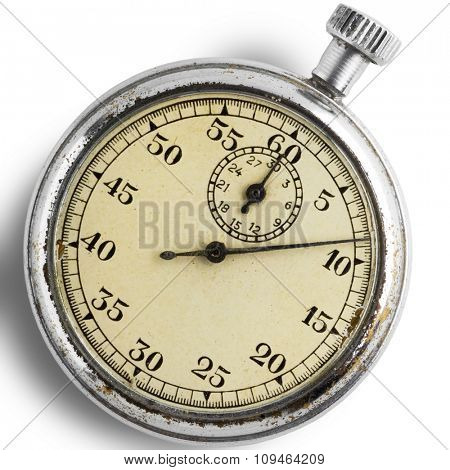 an old stopwatch on white - with clipping path