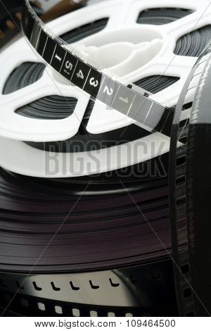closeup of a scrambled film reels and strips