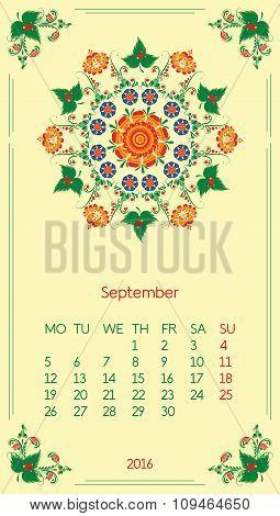 Calendar 2016. Template for month September