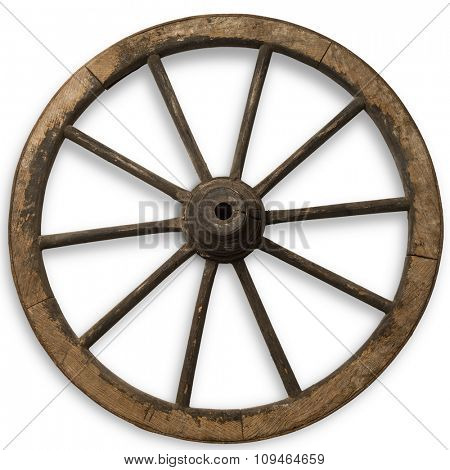 old carriage wood wheel on white with clipping path
