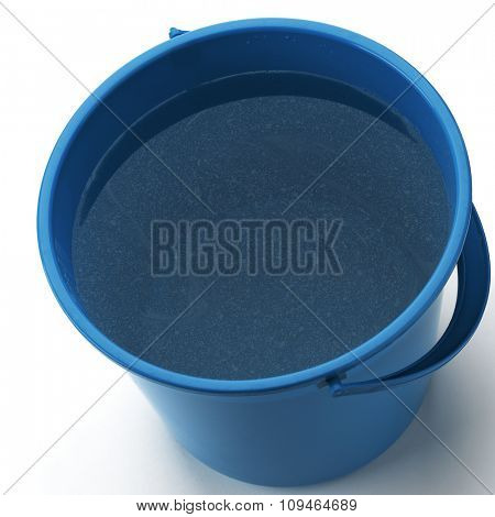 a blue bucket filled with dirty water on white