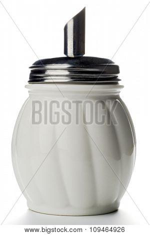 white sugar container on white