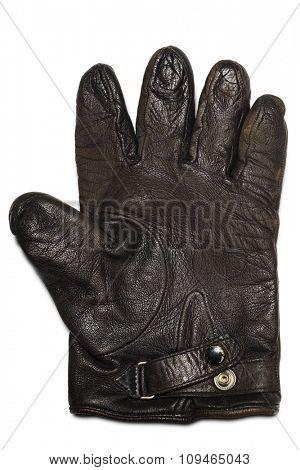 single leather glove on white
