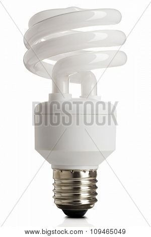 compact fluorescent energy saving lightbulb on white with clipping path
