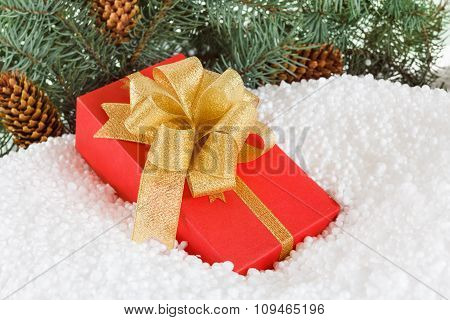 Christmas Gift Box With Ribbon In Snow  Under Pine Tree