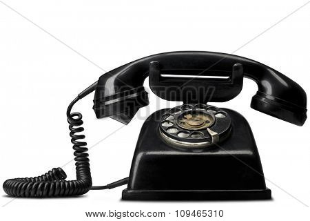 a vintage black telephone on white - with clipping path (works fine as a silhouette, too)