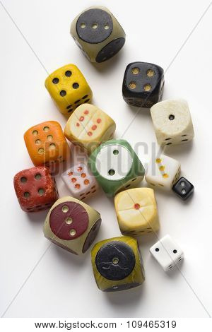 various old dice on white