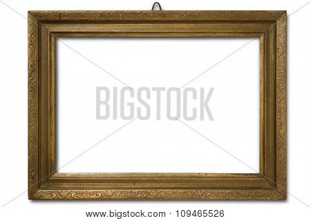 an old wood frame on white with clipping path