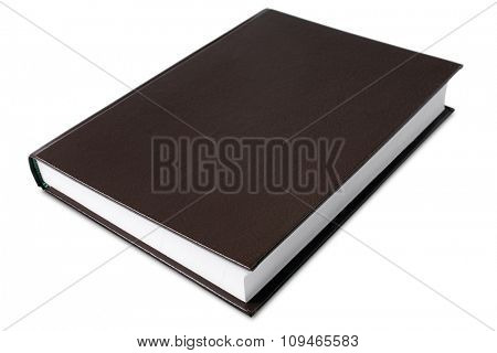a hard cover book on white - with clipping path