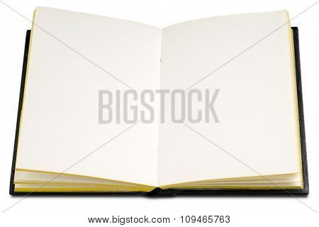 an open blank hardcover book on white