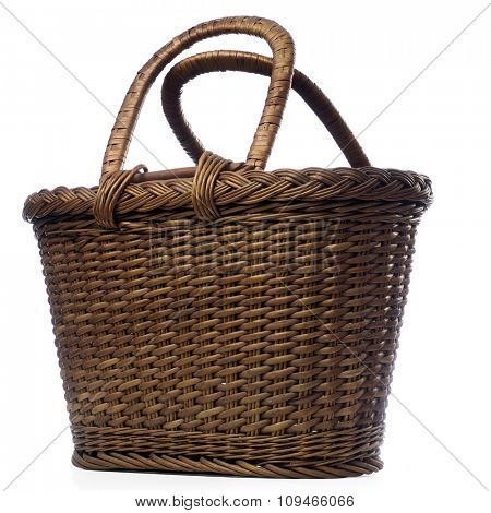 a woven basket isolated on white