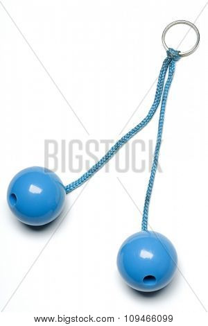 vintage light blue clackers on white