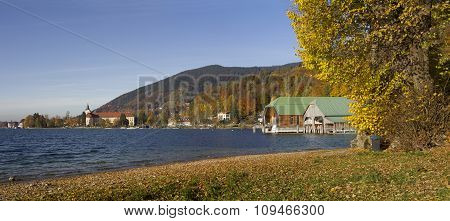 Beautiful Autumn Landscape Lake Tegernsee, View To Boat Houses And Brewery