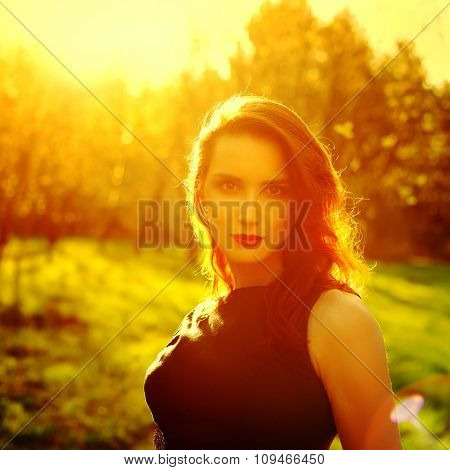Happy Woman Enjoying Nature. Beauty Girl Outdoor.