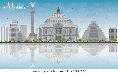 Mexico skyline with grey landmarks and blue sky. Business travel and tourism concept with historic buildings and copy space. Image for presentation, banner, placard and web site.