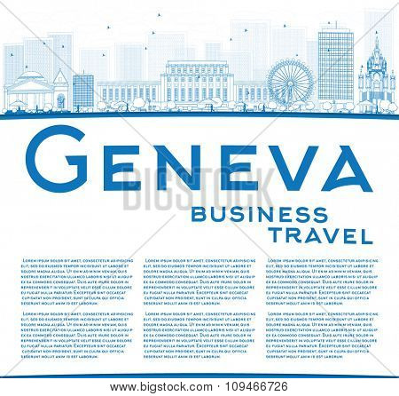 Outline Geneva skyline with blue landmarks and copy space. Business travel and tourism concept with place for text. Image for presentation, banner, placard and web site.