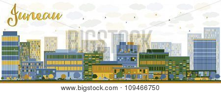 Abstract Juneau (Alaska) Skyline with Color Buildings. Business travel and tourism concept with modern buildings. Image for presentation, banner, placard and web site.