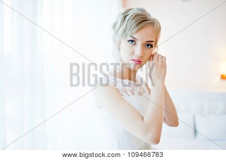 Close Up Portrait Of Blonde Beautiful Bride