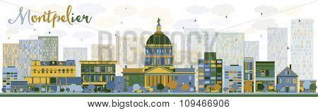 Abstract Montpelier (Vermont) city skyline with color buildings. Business travel and tourism concept with modern buildings. Image for presentation, banner, placard and web site