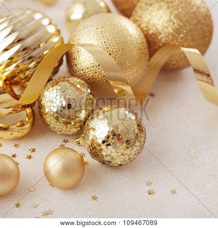 gold christmas ornaments, seasonal decoration