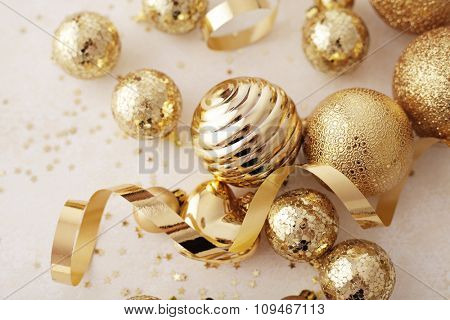 gold christmas ornaments, seasonal decoration