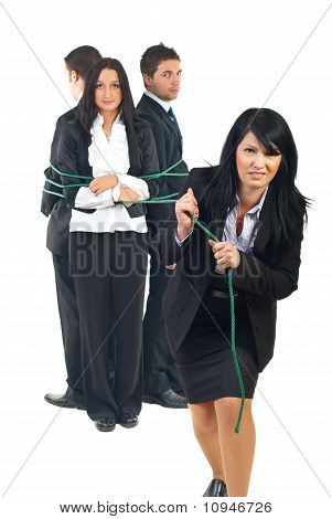 Business Woman Trying To Pull Her Team