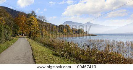 Bikeway Around Lake Tegernsee, Idyllic Autumnal Landscape