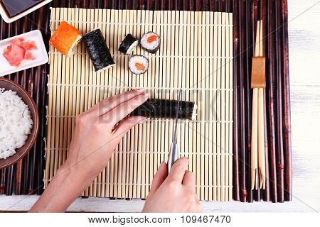 The process of making sushi and rolls, top view