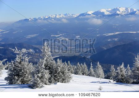 Nice landscape with winter slope in mountains