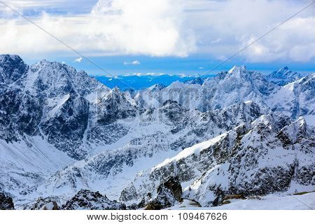 Majestic winter scene in mountains