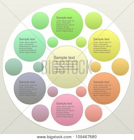 Six part business infographics template design