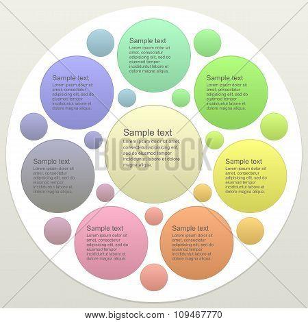 Seven part business infographics template