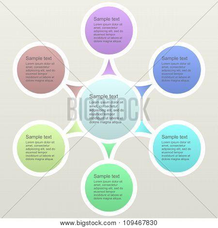 Six part color business infographics template