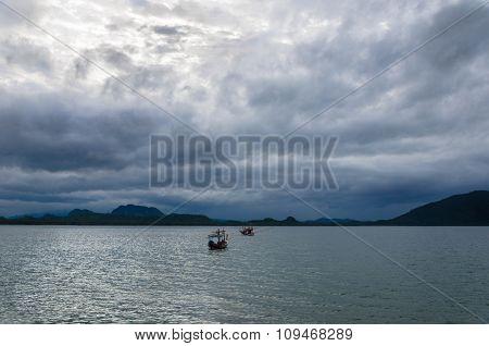 Fishing Boat In Stormy Sea