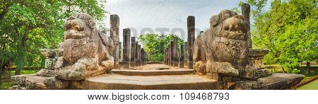 The Council Chamber in the world heritage city Polonnaruwa, Sri Lanka. Panorama