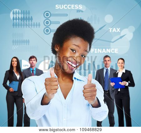 Happy young business woman over graphs background.