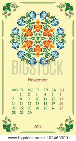 Calendar 2016. Template for month November