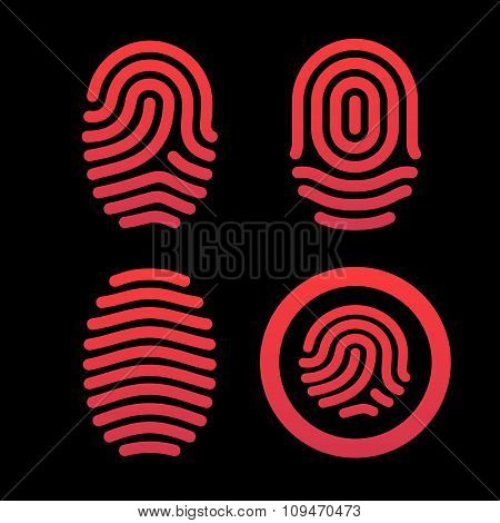 Set of fingerprints. Identification system