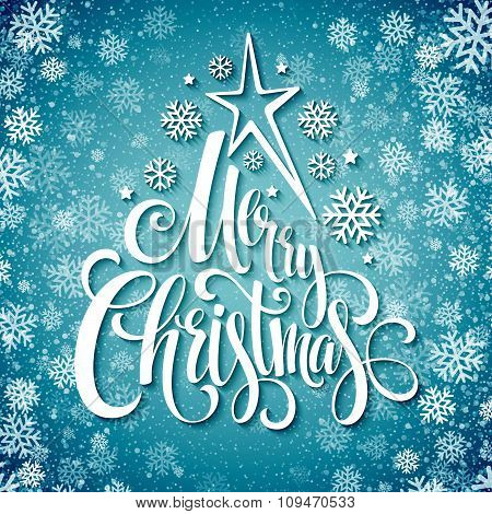 Merry christmas  handwritten text on background with snowflakes. Vector illustration