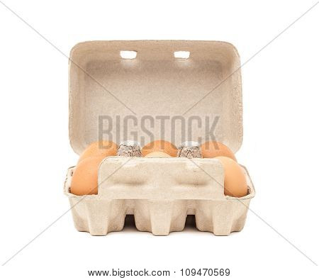 egg in paper mould box packaging isolated on white background