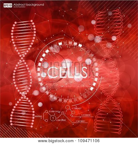 Science background with cells HUD. Red cell background. Life and biology, medicine scientific, bacteria, hemoglobin, blood, molecular research DNA. Vector illustration
