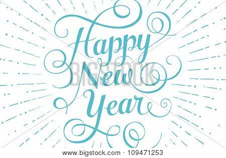 Blue lettering Happy New Year for greeting card on white background. Vector illustration.