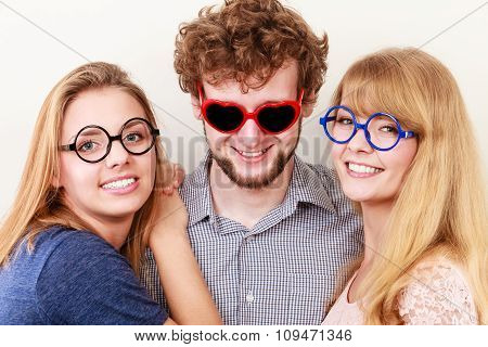 Happy Friends Man And Women In Glasses.