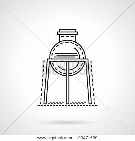 Flat line rack with flask vector icon