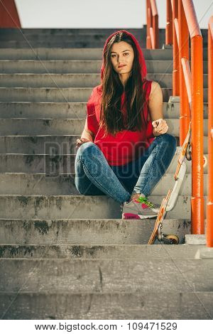 Skate Girl On Stairs With Skateboard.