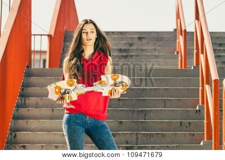 Urban Skate Girl With Skateboard.