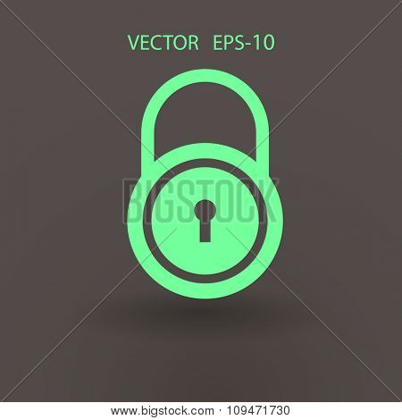 Flat icon of lock