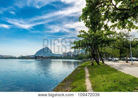 RIO DE JANEIRO, BRAZIL - CIRCA NOVEMBER 2015: Rodrigo de Freitas Lagoon in Rio de Janeiro, Brazil