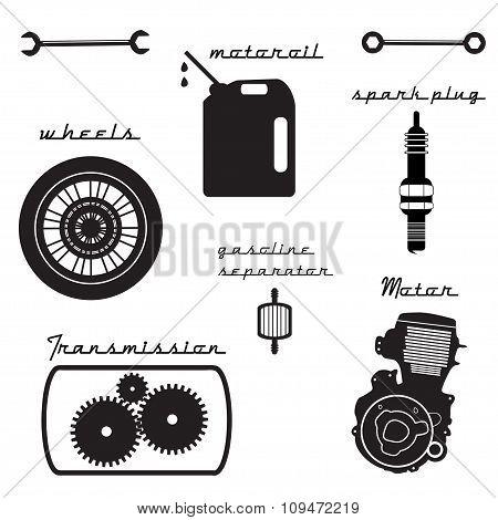 set of vintage parts for the bike.
