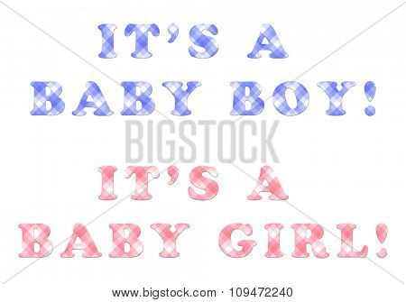 It's a baby boy, it's a baby girl - texts with checkered pattern in shades of blue and pink - for cards and announcements